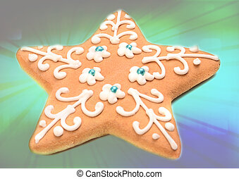 Christmas cookies in abstract background