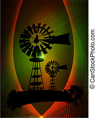 Windmill turbines in abstract background, vector...