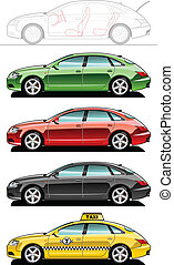 Fastback, taxi - A Vector .eps 8 illustration of cars....
