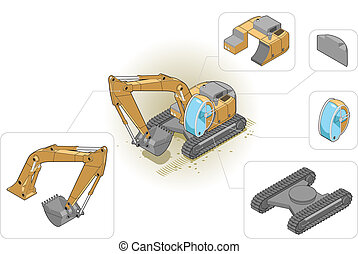 excavator - isometric illustration of an excavator and his...