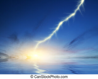 lightning on a dark blue sky background - image of lightning...