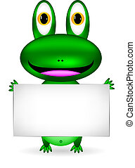 Green frog with blank sign on white