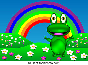Green frog on the lawn - vector.