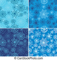 seamless Christmas patterns - Vector set of seamless...