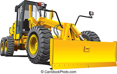 yellow roadgrader - Detailed vectorial image of yellow...