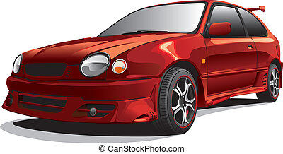 drag car No1 - Detailed image of dark-red drag car, isolated...