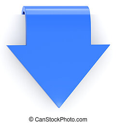 blue arrow sticker with a bend with a drop shadow