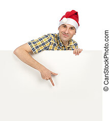 man in Santa hat holding a blank sign