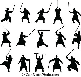 kendo like silhouette with a sword