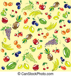 Vector illustration - set of fruits Background