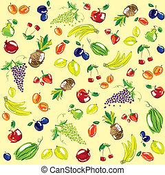 Vector illustration - set of fruits. Background