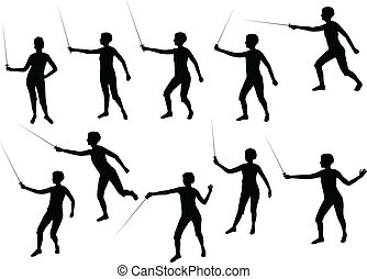 girl fencing silhouettes