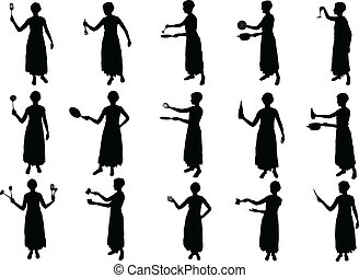 girl cooking silhouettes