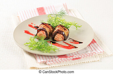 Meatballs wrapped in eggplant