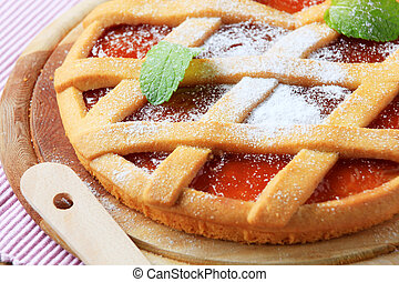 Jam tart with a lattice top crust