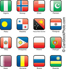 Flag icon set part 9 - Nigeria, Norway, Oman, Pakistan,...