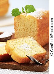 Pound cake - Slices of pound cake on a cutting board
