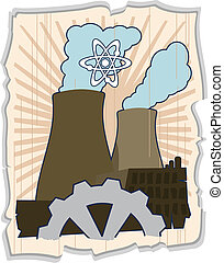 atomic energy - nuclear power plant. The vector file is in...
