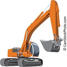 excavator - Vector color illustration of a excavator The...
