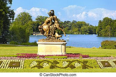 Lyon, parque, cabeza, oro