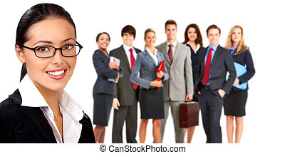 Business woman and group of people. - Smiling business woman...