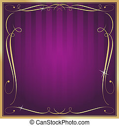 Purple and Gold Blank Square Striped Ornate Vector...