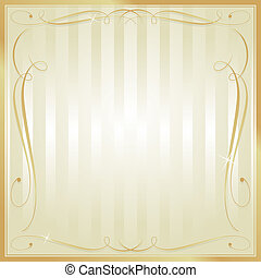 Tan and Gold Blank Square Striped Ornate Vector Background -...