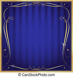 Blue and Gold Blank Square Striped Ornate Vector Background