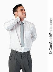 Portrait of a businessman having a back pain