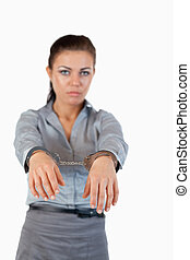 Portrait of a guilty businesswoman