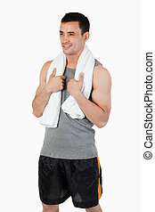 Smiling young man after workout