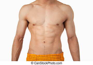 Male torso against a white background