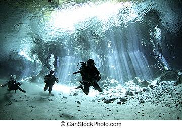 plongeurs, entrée, cenote