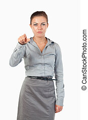 Portrait of a gorgeous businesswoman pressing an invisible key