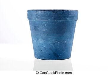 Blue fllower pot isolated with reflection.