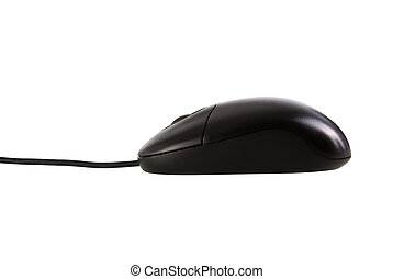 Black mouse isolated with clipping path.