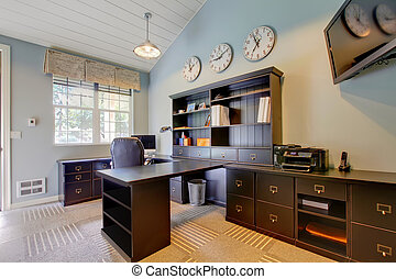 Blue modern home office interior design with dark brown...