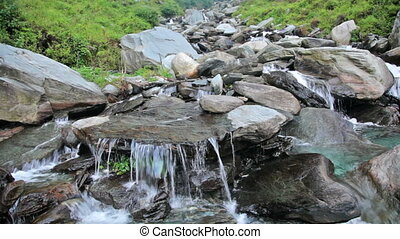 Waterfall cascade - Cascade of Bhagsu waterfall Bhagsu,...