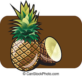 pineapple - Vector color illustration of a delicious...