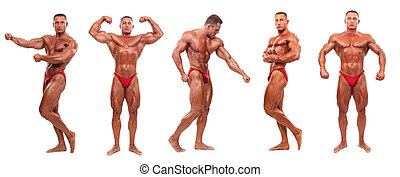 Male body builder demonstrating five poses - isolated -...
