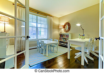 Kids study reading room or home school class interior. -...