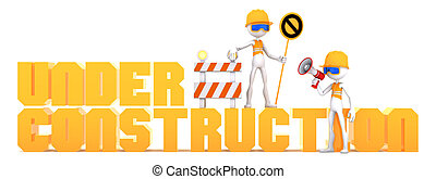 Under Construction - Construction workers and orange under...