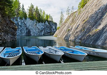 Drowned marble canyon - Dinghy pier in flooded canyon