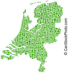 Map of Holland (Europe) in a mosaic