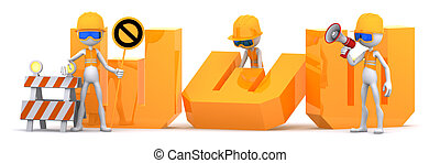 Site Under construction - Group of workers building WWW text...