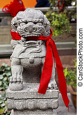 Stone Dragon Red Ribbons Buddhist Sayings Jade Buddha Temple...