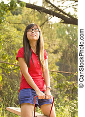 Asian girl with carefree concept