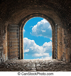 Heavens Gate - A dark corridor with a arch opening to a...