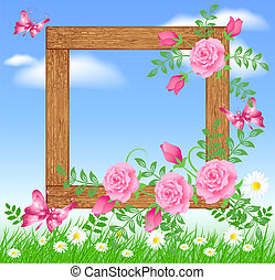 Wooden photo frames with flowers and butterfly - Design...