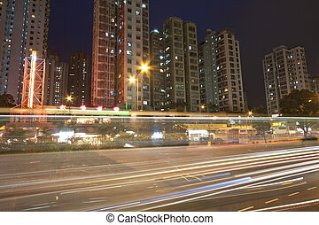 Busy traffic in city at night